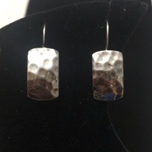 Curved Hammered Sterling Silver Earrings-Silpada